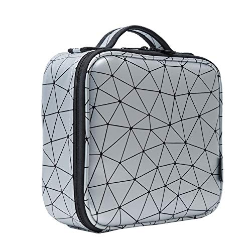 esonmus Kosmetiktasche Portable Reise Make Up Tasche 25 * 22.5 * 9.4 cm,Große Kapazitä wasserdichte PU Leder Kulturtasche mit Abnehmbare verstellbare Trennwände (Grau Diamantform Muster)
