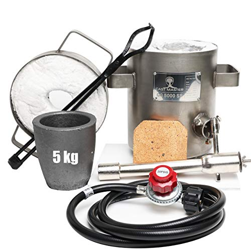 USA Cast Master 5 KG DELUXE KIT Propane Furnace with Crucible and Tongs Kiln Smelting Gold Silver Copper Scrap Metal Recycle 5KG KILOGRAM