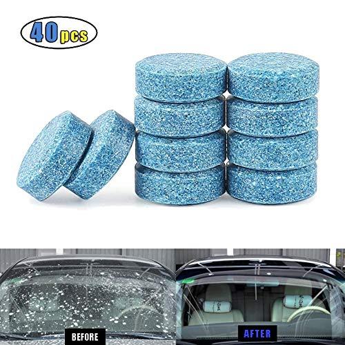 Kindax 40Pzs Pastillas de Limpieza de Cristales para Coche Tableta Efervescente Limpiador Sólido de Coche Limpiacristales (Equivalen a 160L Líquido de Lavado)