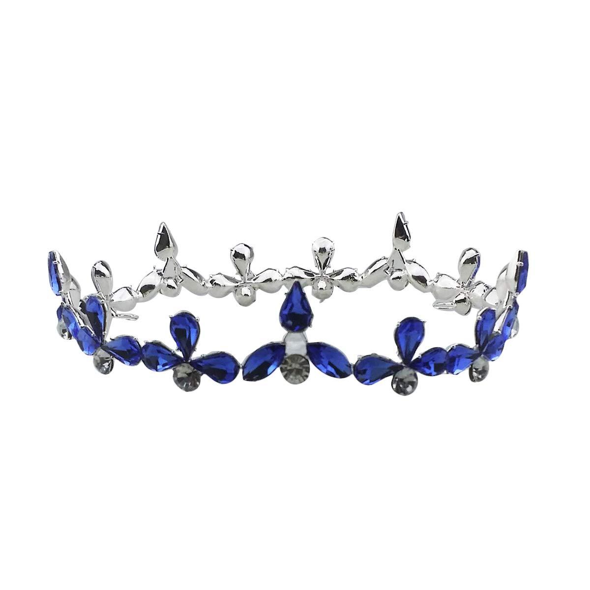 TINKSKY Baroque Bridal Crown Tiara Crystal Bride Round Headband Wedding Tiara Full Crown Wedding Accessories (Silver)