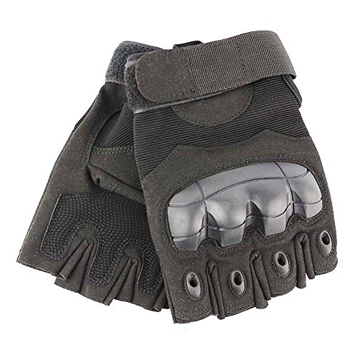 Tactical Gloves Military Rubber Hard Knuckle Gloves Fingerless Half Finger Outdoor Gloves Fit for Cycling Airsoft Paintball Motorcycle Hiking Camping (Black, Large)