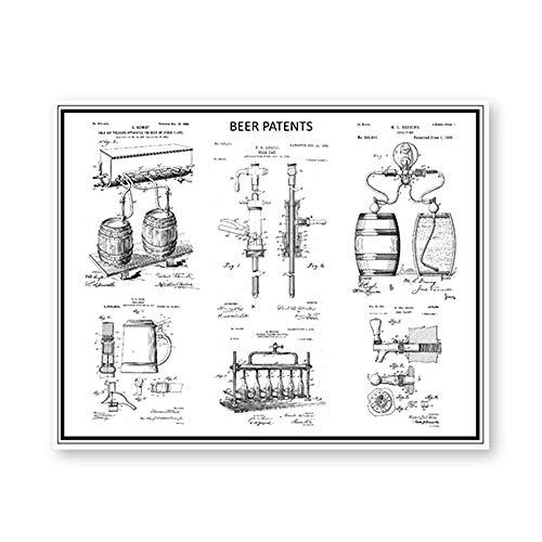 WJY Amante Impresiones de Patentes Cerveza Artesanal Taza Stein elaboración de Cerveza Carteles artísticos de Pared manija de Grifo de Cerveza Modelo Lienzo Pintura Bar Decor 50x60cm Sin Marco