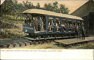 Car Leaving Lower Station, Mt. Tom Railroad Holyoke, Massachusetts MA Original Vintage Postcard