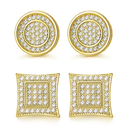 Jstyle 14K Gold Iced Out Cubic Zirconia Stud Earrings for Men Women Square Round CZ Earrings Piercing Studs Hip Hop Jewelry with Gift Box
