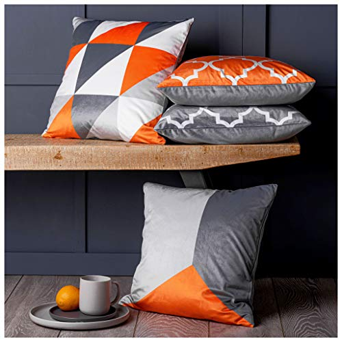 Red Rainbow Collection of 4 Designs Orange & Grey Geometric 18 Inch Super Soft Cushion Covers