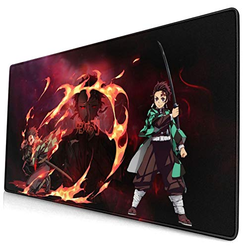 Anime Large Gaming Mouse Pad Extended Demon Slayer Kimetsu No Yaiba Tanjiro Kamado Mouse/Desk Mat with Non-Slip Rubber Base, Anti-Fraying Stitched Edges Mousepad for Office Home Computer Accessories