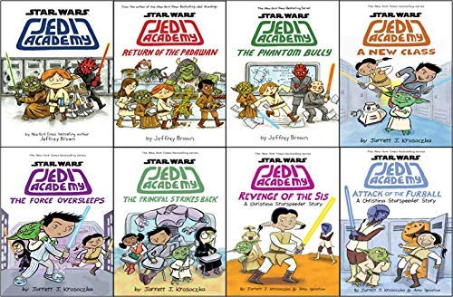 Star Wars Jedi Academy Series Set of 8 Jedi Academy, Return of the Padawan, The Phantom Bully, A New Class, The Force Oversleeps, Revenge of the Sis, The Principal Strikes Back, Attack of the Furball