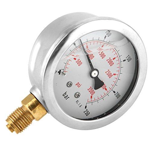 Akozon Manómetro 0-250Bar 0-3750PSI G1/4 Medidor de Presión de Agua...