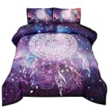 PomCo Galaxy Dream Catcher Comforter Set Queen (90x90 Inch), 3Pcs (1 Dreamcatcher Comforter & 2 Pillowcases) Boho Dream Catcher Printed Microfiber Bedding Set, Purple Mandala Comforter Set