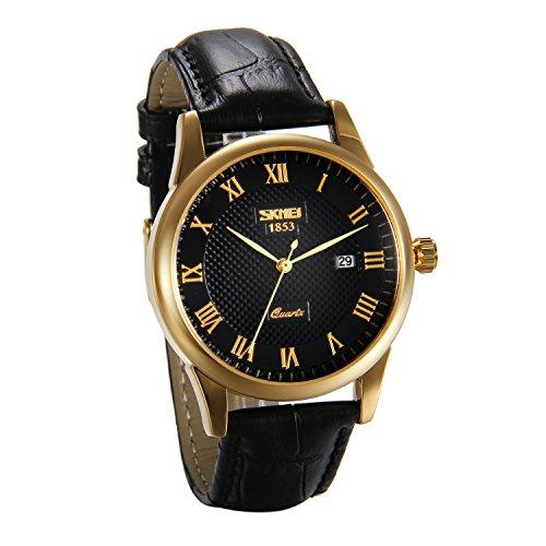 JewelryWe Herren Armbanduhr, 30M Wasserdicht Analog Quarz Business Casual Uhr mit Römischen Ziffern Zifferblatt und Leder Armband, Farbe: Schwarz