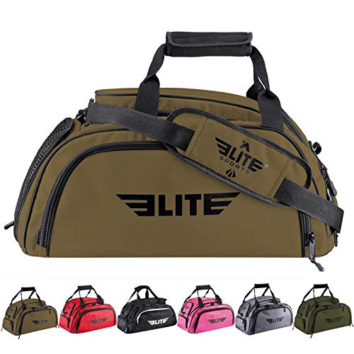 Elite Sports Boxing Gym Duffle Bag for MMA, BJJ, Jiu Jitsu Gear, Duffel Athletic Gym Backpack with Shoes Compartment (Khaki, Medium)