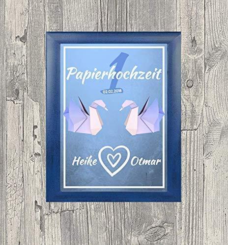 Hochwertiges Geschenk zum ersten Hochzeitstag | Bild auf DinA4 als Geschenk zum Jahrestag für das Paar | personalisierte Geschenke zur Papierhochzeit für Frauen & Männer