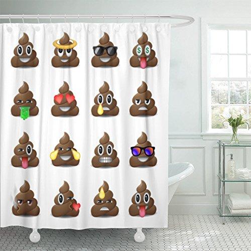 Emvency Duschvorhang, braunes Kackhaufen, lächelnde Gesichter, Emoji, Emoticons, Kothaufen, Bullshit, wasserdichtes Polyestergewebe, 183 x 183 cm, Set mit Haken