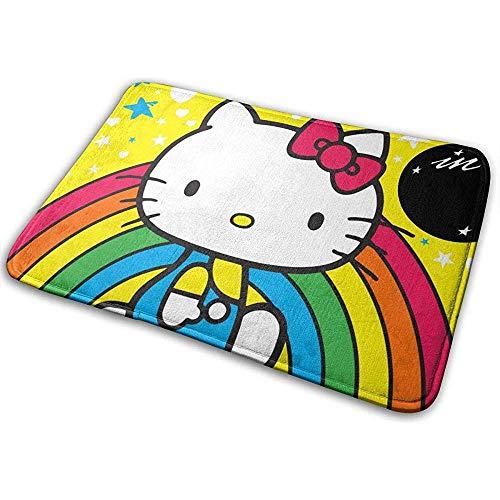 Liumt Antislip Welkom Deur Mat Hello Kitty met Regenboog Indoor Outdoor Entree Tapijt Vloermatten Schoenenschraper 40cm x 60cm