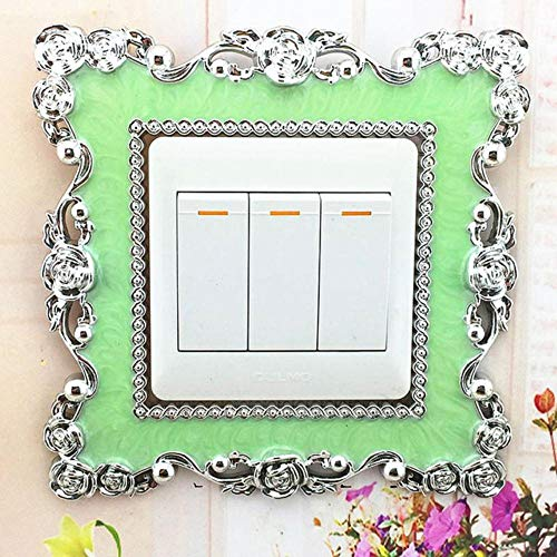 Houer Switch Cover Square Shape Switch Wandlamp Socket Stickers Decoratie Switch Sticker Behang, Mintgroen