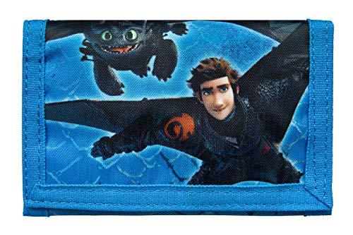 Undercover DRRA7010 - Geldbörse mit Klettverschluss, Geldscheinfach, Münzfach und Kartenfächern, Dreamworks Dragons mit Ohnezahn und Hicks, ca. 8 x 13 x 0,5 cm