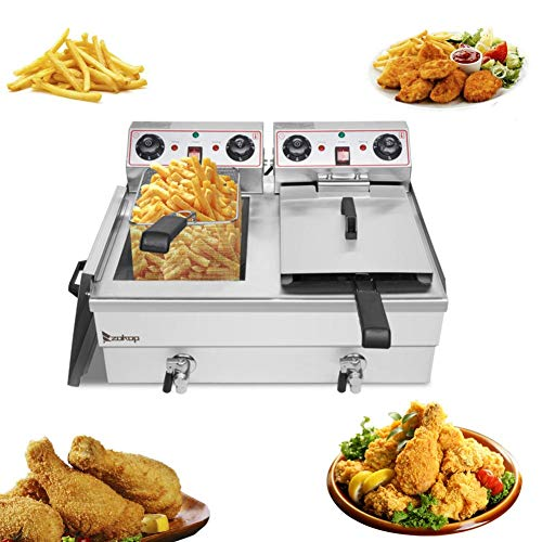 Professional Stainless Steel Deep Fryer with Basket,3400W 8L Double Tank Electric Commercial Deep Fryers for Turkey French Fries Home Kitchen Restaurant,Total Capacity 24.9QT/23.6L