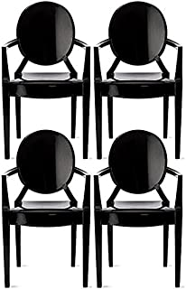 2xhome Set of 4 Modern Ghost Chair Armchair with Arm Black Polycarbonate Plastic