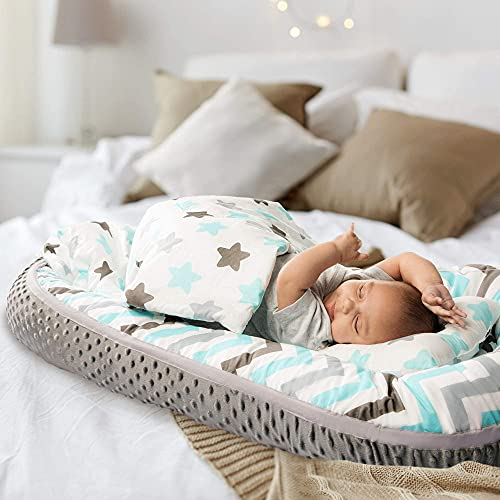 Baby Lounger with Pillow and Quilt, 100% Cotton with Minky Fleece Back - Super Soft Sleeper for Baby, Washable - Portable Co-Sleeping Newborn Lounger - Premium Snuggle Baby Nest with Zip Edge