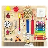 CCCYT Tablero Montessori para Niños,Busy Board Juguetes Montessori 1 2 3 4 años,Juguetes Educativos de Aprendizaje Juguetes Sensoriales Activo Tablero para Habilidades Básicas