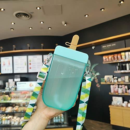 Sishangm Plastikbecher, Wasser Tasse Kreative Eiscremetasse Erwachsene Kinder Tragbare Strohkasse, modern und einfach pp (Color : Blue)