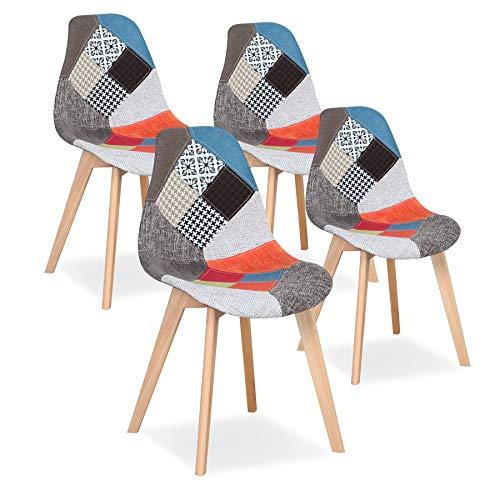 Uderkiny Set di 4 sedie Sedia da Pranzo Patchwork Sedia in Stile Nordico per Cucina Sala da Pranzo...