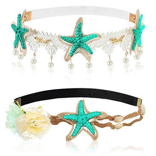2 Pcs Boho Bridal Headband Flower Headband Sea Starfish Shell Lace Hairband Mermaid Beach Wedding Halloween Party Costume Hair Accessories
