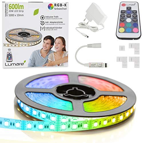 Lumare LED Strip, LED Streifen, Farbwechsel 5Meter RGB-K, selbstklebend, LED Bänder Stripes mit Fernbedienung, Led Licht-Band Lichterkette, Küche, Wohnzimmer, Party uvm. (3M) TV Hintergrundbeleuchtung