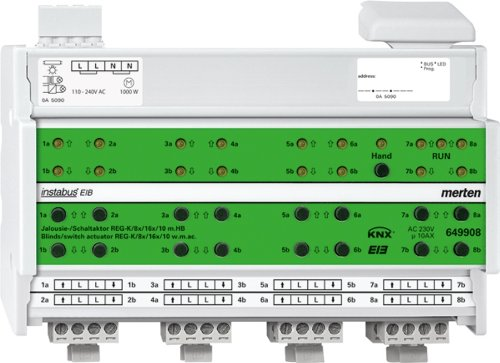 Merten 649908 Jalousie-/ Schaltaktor REG-K/8x/16x/10 mit Handbetätigung, lichtgrau (light grey)
