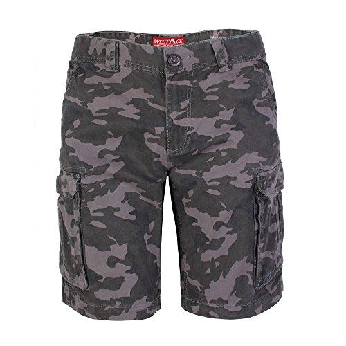 westAce Herren Armee Cargo Shorts 100% Baumwolle Camouflage Combat Bermuda Kurz Hose (32 (Taille 84-86 cm), Holzkohle Camouflage)