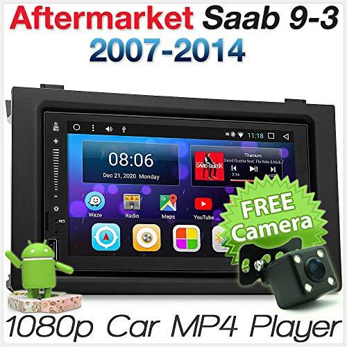 TUNEZ® Autoradio stéréo Android compatible avec Saab 9-3 2007-2014 USB MP3 MP4 Radio stéréo Kit Façade GPS Façade ISO Kit Mirrorlink
