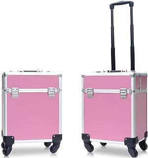 WSJTT. حقيبة سفر متنقلة من الألومنيوم لتخزين مستحضرات التجميل ومنظم مجوهرات قابل للقفل مع أدوات مكياج مفاتيح (اللون: وردي)