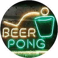 Beer Pong Bar Game Pub Dual Color LED看板 ネオンプレート サイン 標識 緑色 + 黄色 400 x 300mm st6s43-i3495-gy