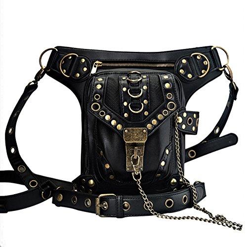 OMAS Leder Vintage Schultertasche, Steampunk Punk Handtasche, Leder Taille Packs Bag, Beintasche Gothic, Schwarz