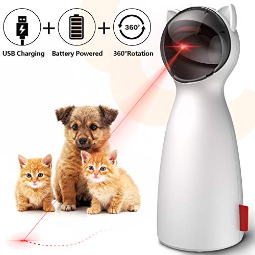 goopow Cat Toy Automatic, Interactive Laser Toy for Kitten Dogs-USB Charging/Battery Powered, Placing High,5 Random Pattern,Automatic On/Off and Silent, Fast/Slow Light Flashing Mode