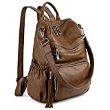 UTO Women Backpack Purse PU Washed Leather Convertible Ladies Rucksack Tassel Zipper Pocket