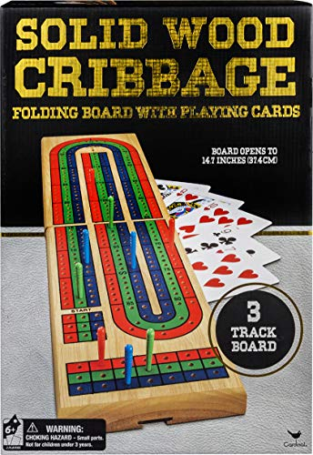 Solid Wood Cribbage Folding Board with Playing Cards