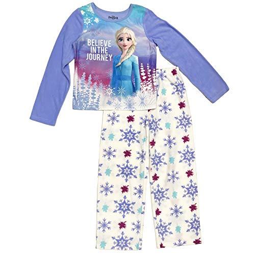 Disney Girls' Big Frozen 2-Piece Pajama Set, Lavender Snowflakes, 8