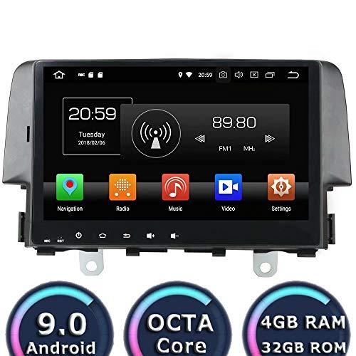 ROADYAKO pour Honad Civic 2015 2016 2017 Android 8.0 Autoradio Stéréo avec la Navigation GPS 3G WiFi Lien de Miroir RDS FM AM Bluetooth AUX