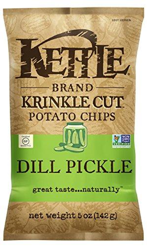 Kettle Brand Potato Chips, Krinkle Cut Dill Pickle Kettle Chips, 5 Oz