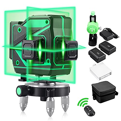 Nivel Láser Profesional 360 Autonivelante Niveles Láser Verde 3D 12 Líneas Láser de haz de Línea con Herramienta de Nivelación Vertical y Horizontal para Líneas Exteriores