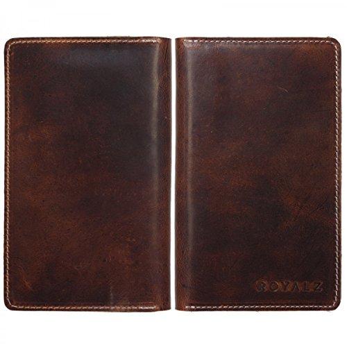 ROYALZ Leder Tasche Geldbörse Brieftasche Schutz Hülle Cover Sleeve Universal (4.7-5.1 Zoll) Kara Braun