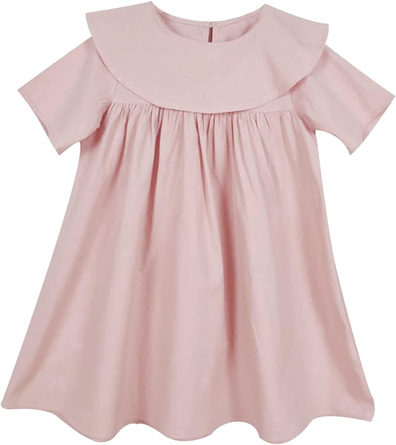 Generic2 Kids Princess Dress Summer Solid Color Breathable Short Sleeve Dresses Girls Loose Casual Round Neck Ruffle Dress