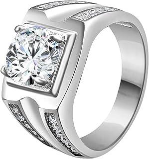 تريليون جيويلز 2.50 قيراط مستدير سوليتير للرجال خاتم خطوبة من الفضة الإسترلينية 925 في ذهب أبيض عيار 14 قيراط.