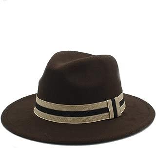 HongJie Hou Men Women Winter Fedora Hat With Cloth Belt Panama Hat Wide Brim Church Fascinator Hat Casual Hat Size 56-58CM