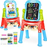 BATTOP Kids Easel for Two Height Adjustable Double Sided Deluxe Art Easel with Accessories for Kids Painting Drawing