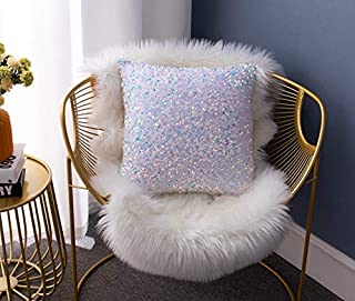 LIGICKY Luxury Series Glitzy Sequin Throw Pillow Covers Sparkling Decorative Square Cushion Cover Metallic Pillow Cases for Sofa Couch Bedroom Home Party Wedding Decor (18 x 18 Inches, Colorful)