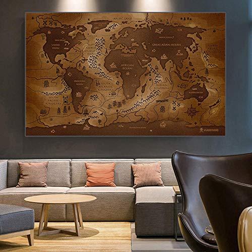 WTYBGDAN Cuadro de decoración Vintage Mapa del Mundo Pinturas en Lienzo Carteles e Impresiones Abstractos Modernos Oficina Decoración del hogar Cuadro de Pared | 60x90cm / Sin Marco