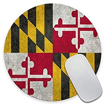 Amcove Maryland State Flag Vintage Aged American Flags Pattern Mouse Pad,Anti Slip Rubber Round Mousepads Desktop Notebook Mouse Mat for Working and Gaming