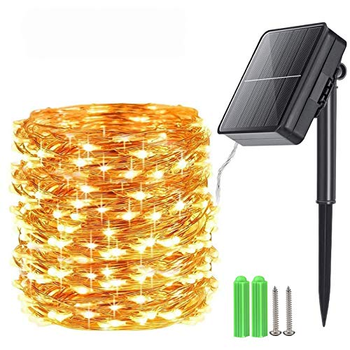 Qedertek 240 LED Solar Lichterkette Außen, 24M Solar Lichterketten Aussen Wasserdicht, Solar Kupferdraht Lichterkette 8 Modi, Solarlichterkette für Garten, Balkon, Terrasse, Tor, Hof, Party(Warmweiß)